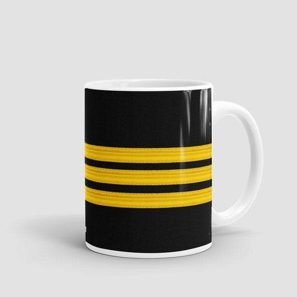 Airportag Mug Black Pilot Stripes 3-Gold 11 oz
