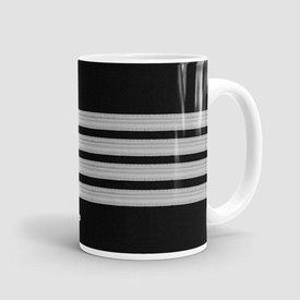 Airportag Mug Black Pilot Stripes4-Silver 15 oz