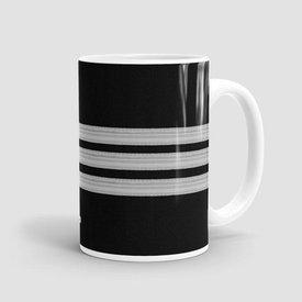 Airportag Mug Black Pilot Stripes3-Silver 15 oz