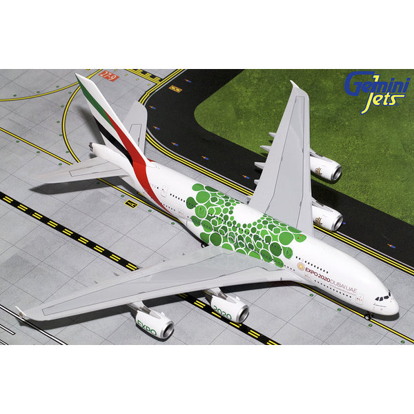 Gemini Jets A380-800 Emirates Green Expo 2020 A6-EEW 1:200 with stand (11th Release)