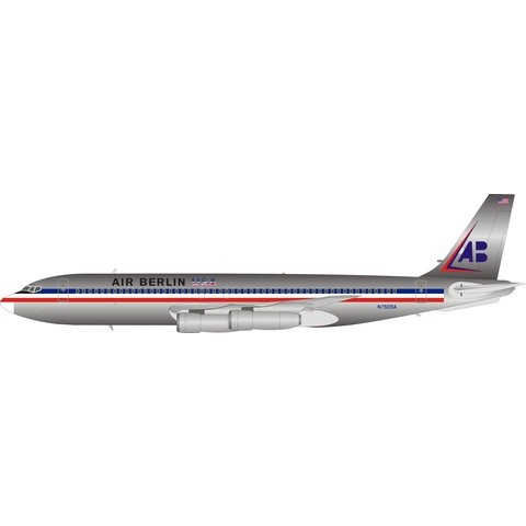 B707-100 Air Berlin American livery N7509A 1:200 Polished with stand