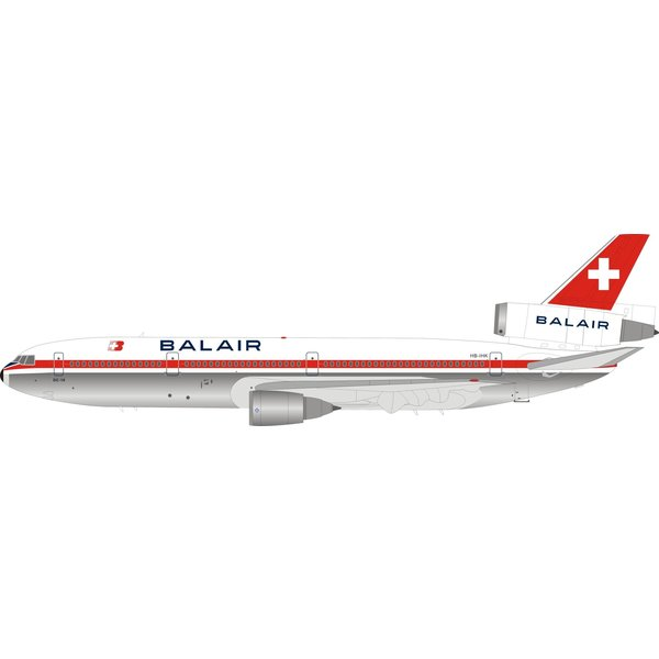 InFlight DC10-30 Balair HB-IHK 1:200 polished with stand