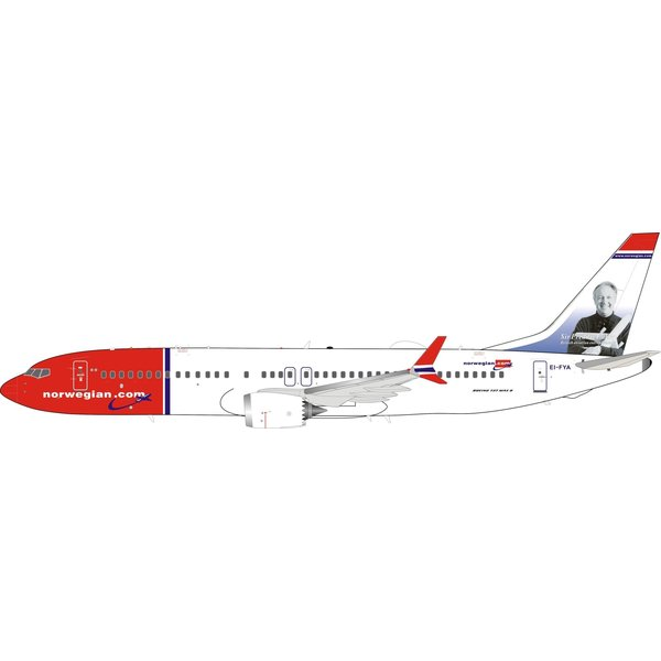 InFlight B737 MAX8 Norwegian Air Shuttle Sir Freddie Laker EI-FYA 1:200 With Stand