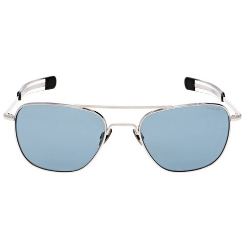Aviator 23k White Gold Blue Hydro AR 55 Sunglasses