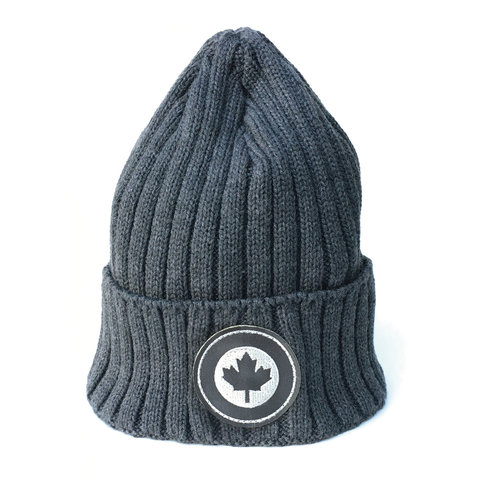 Heavyweight Rib Knit Roundel Tuque With Cuff