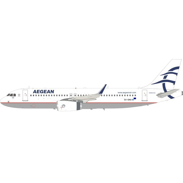 InFlight Airbus A320S Aegean Airlines SX-DNA Sharklets 1:200 With Stand