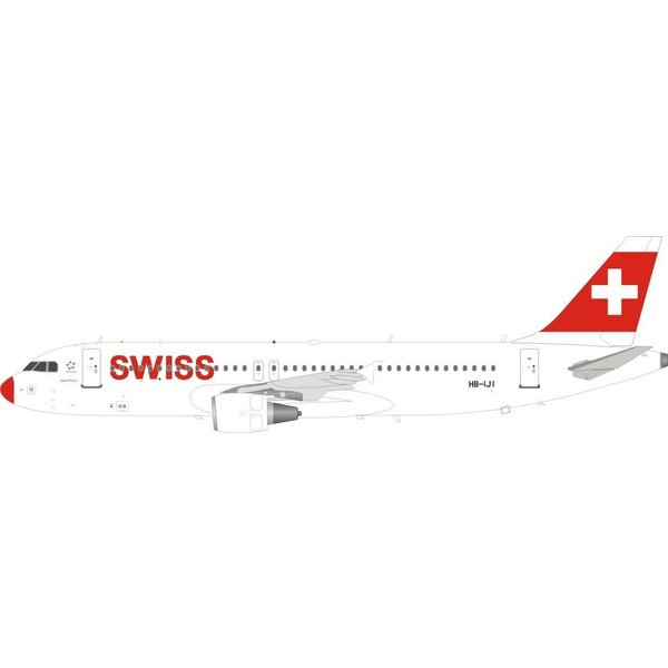 JFOX A320-200 Red Nose Swiss International HB-IJI 1:200 With Stand