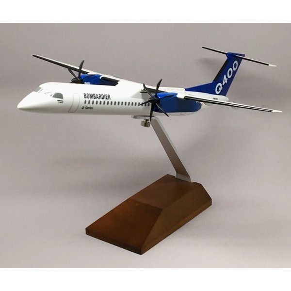 SkyMarks dash8 Q400 Bombardier Q Series House livery Blue tail 1:100 with wooden stand