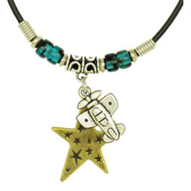 Airplane and Star Necklace