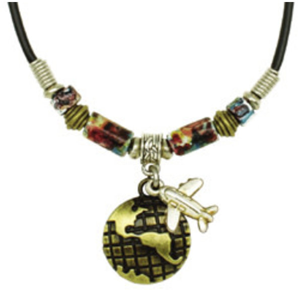 Airplane on World Necklace