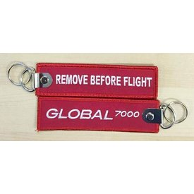Bombardier Key Chain Global 7500 Remove Before Flight Red