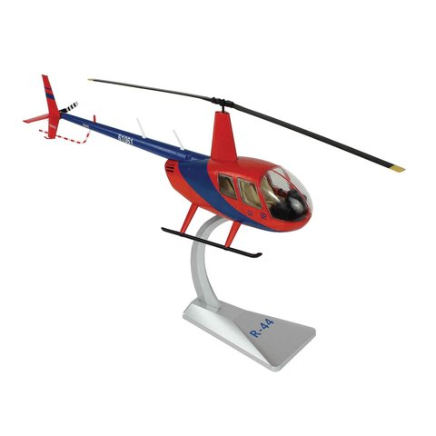 Robinson R44 Raven Red / Blue Chinese 61061 Helicopter 1:32 with stand