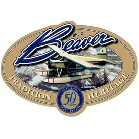 "Bombardier DHC2 Beaver Heritage Oval 50 Years Sticker 4 3/4"" x 3 1/4"""