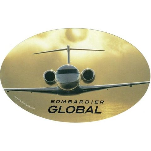 """Bombardier Global Head-On Oval 6"""" x 3 3/4"""" Sticker"""