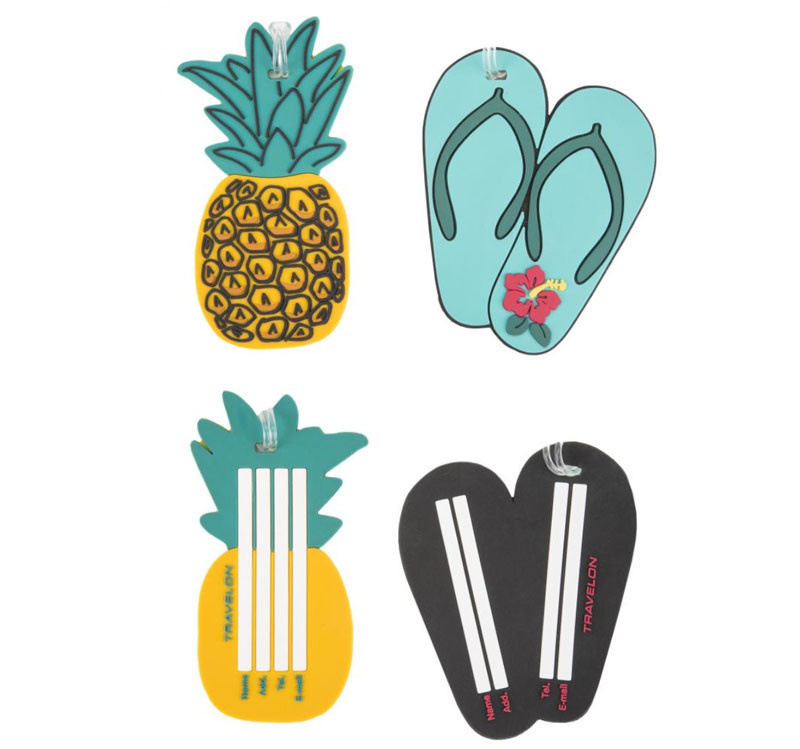 a64b8c652eee Set of 2 Novelty Luggage Tags Pineapple / Flip Flop