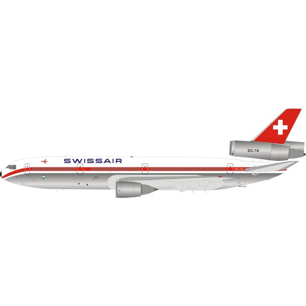 InFlight DC10-30 Swissair HB-IBE 1:200 polished w/stand