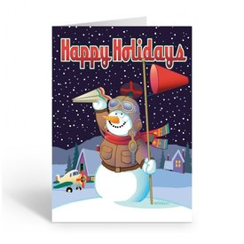 Stonehouse Collection Airplane Theme Snowman  Boxed Cards (18)
