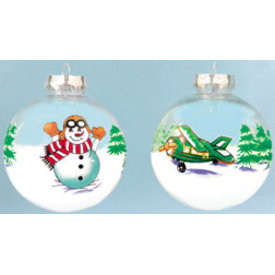 Transparent Plane and Snowman ornament