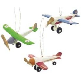Ornaments Colourful Wooden Airplanes