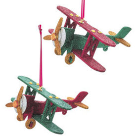 Ornament Glitter Wooden Biplane