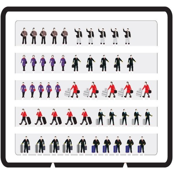 JC Wings Airport Staff Figures 1:400 (50 pieces)