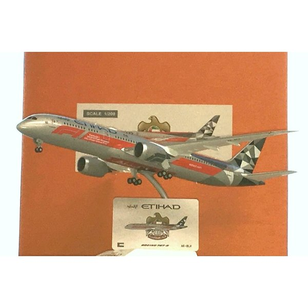 JC Wings B787-9 Dreamliner Etihad Formula 1 A6-BLV 1:200