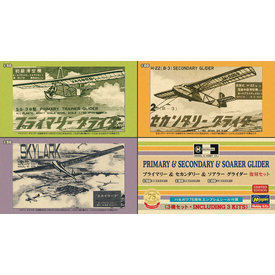 Hasegawa PRIMARY & SECONDARY & SOARER GLIDERS 1:50 & 1:60 3-pack