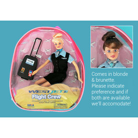 Daron WWT Westjet Flight Attendant Doll With Luggage (in backpack)