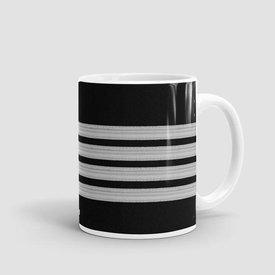 Airportag Mug Black Pilot Stripes4-Silver11 oz