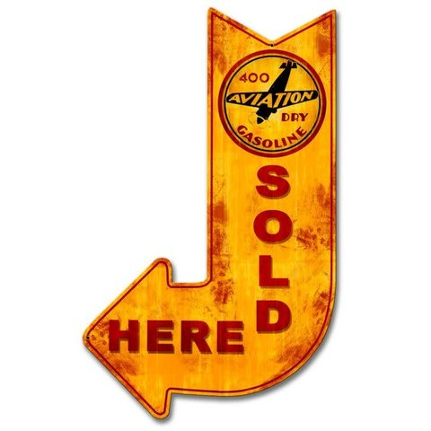 400 Aviation Dry Gasoline Sold Here Arrow Metal Sign