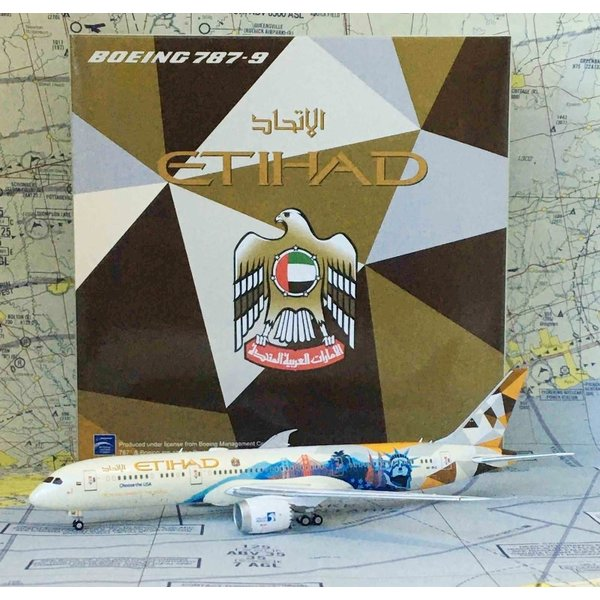 JC Wings B787-9 Dreamliner Etihad Choose USA Livery A6-BLC 1:400 flaps
