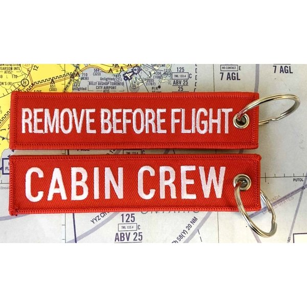 Key Chain Remove Before Flight Embroidered Cabin Crew