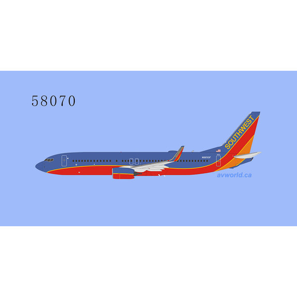 NG Models B737-800W Southwest Canyon Blue N8650F 1:400