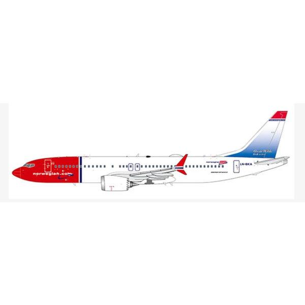JC Wings B737 MAX8 Norwegian Oscar Wilde LN-BKA 1:400 +Preorder+