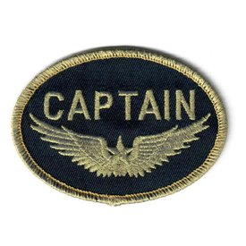 Patch CAPTAIN Wings Gold on black Iron-On
