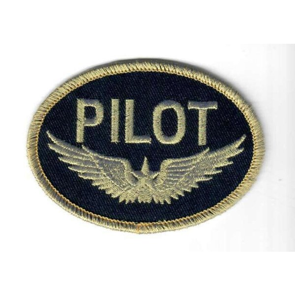 Patch PILOT Wings Gold on black Iron-On