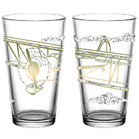 Airplane Gold and Ice Pint glass