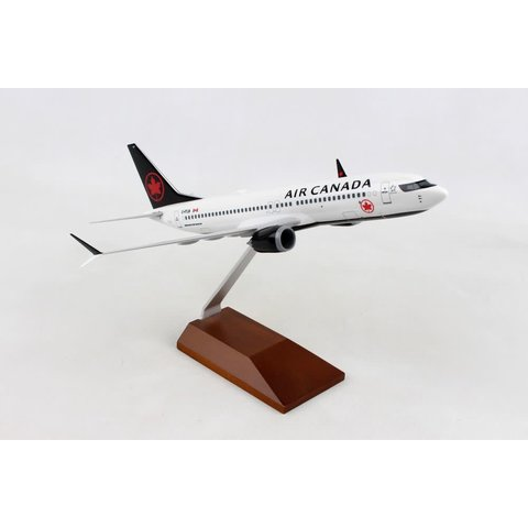B737 MAX8 Air Canada 2017 Livery 1:130 with wooden stand