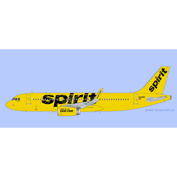 Gemini Jets A320S Spirit Airlines yellow N649NK 1:200 with stand