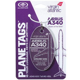 PlaneTags Virgin Atlantic A340-600 G-VEIL PlaneTag QUEEN OF THE SKIES Tail #G-VEIL Purple