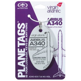 PlaneTags Virgin Atlantic A340-600 G-VEIL PlaneTag QUEEN OF THE SKIES Tail #G-VEIL White