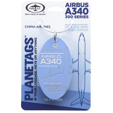 China Airlines Airbus A340 PlaneTag Tail # B-18801 Dark Lavender