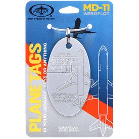 PlaneTags MCDONNELL DOUGLAS AEROFLOT MD11F - PLANETAG TAIL #VP-BDR - SILVER
