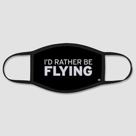 Airportag I'd Rather Be Flying - Face Mask - Regular / Black / Large