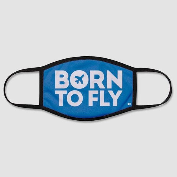 Airportag Born To Fly - Face Mask - Regular / Large / Blue