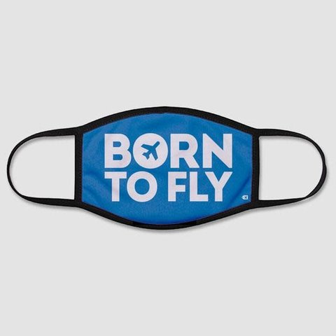 Born To Fly - Face Mask - Regular / Small (Kids) / Blue