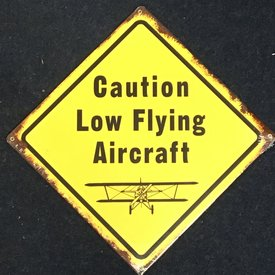 Caution Low Flying Aircraft Metal Sign Yellow