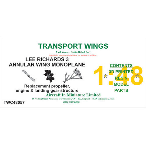 AIM-Transport Wings Lee-Richards Annular Monoplane Detail parts set 1:48