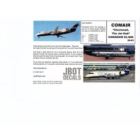 JBOT Canadair CL600 COMAIR 1:144 Decals