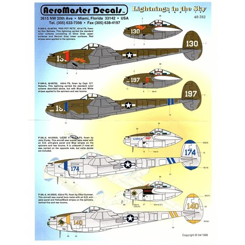 Aeromaster P38H/L Lightnings in the Sky 1:48*Discontinued*